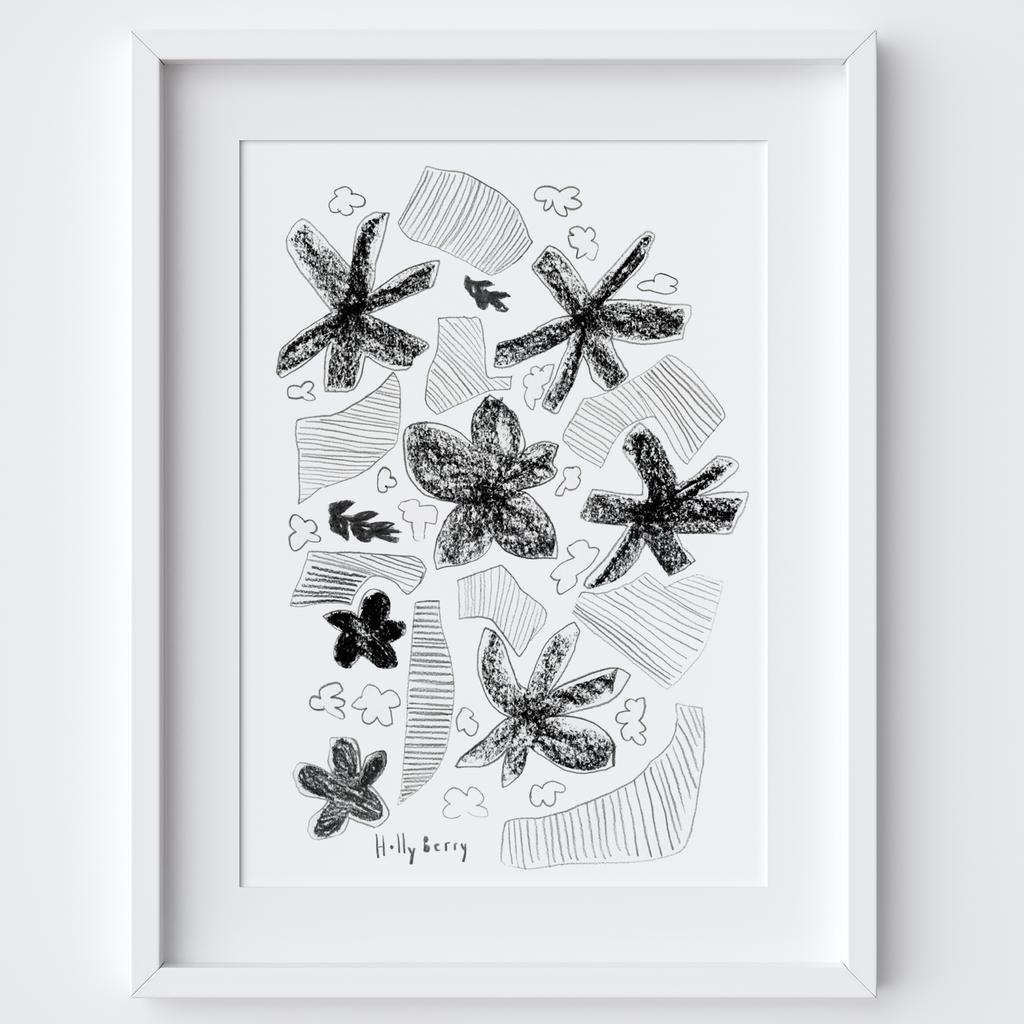 Flowers & Strips Drawing Print framed