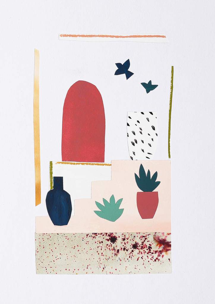 Flowers with Birds Unframed Print