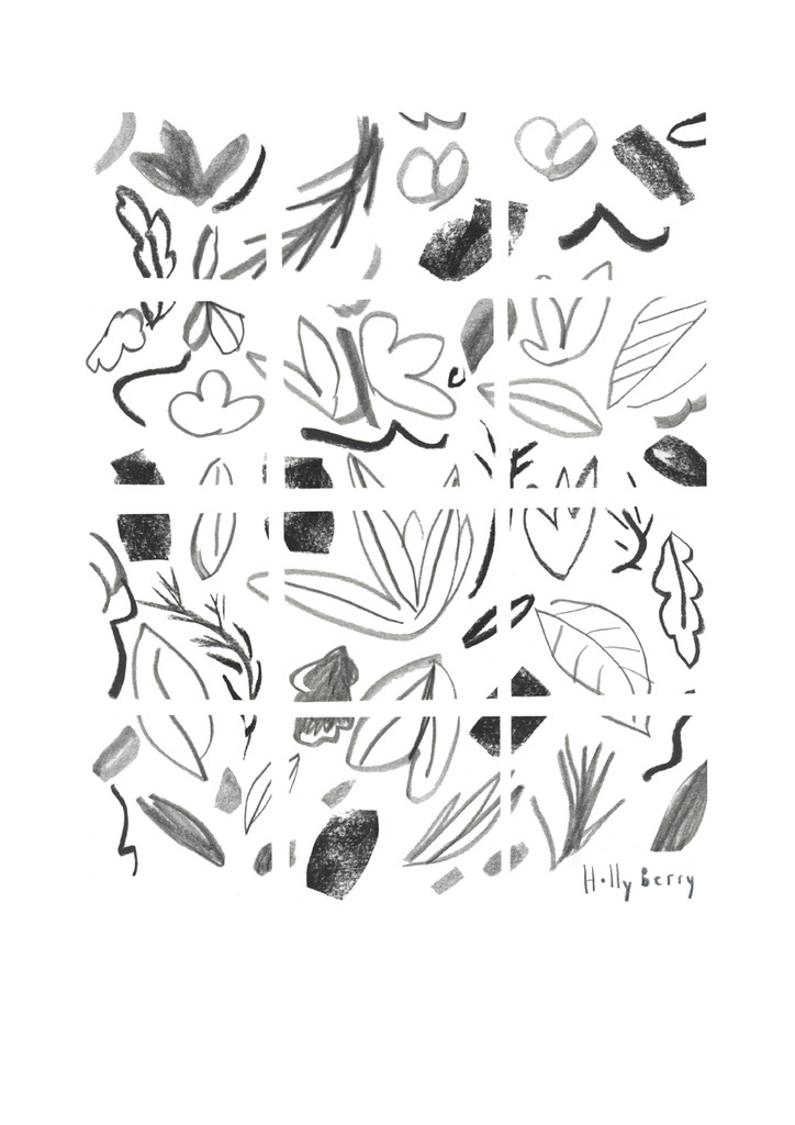 Geometric Monochrome Florals Drawing Unframed Print