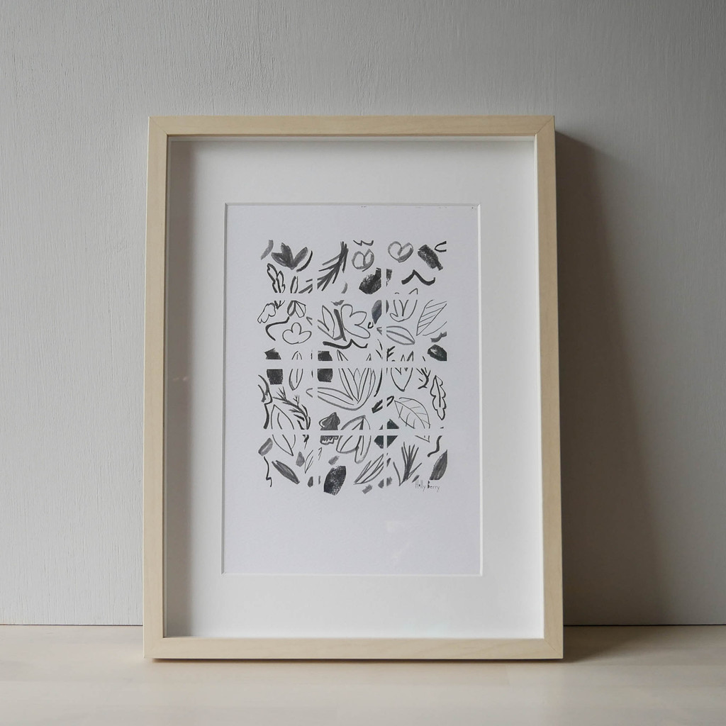 Geometric Monochrome Florals Drawing Print