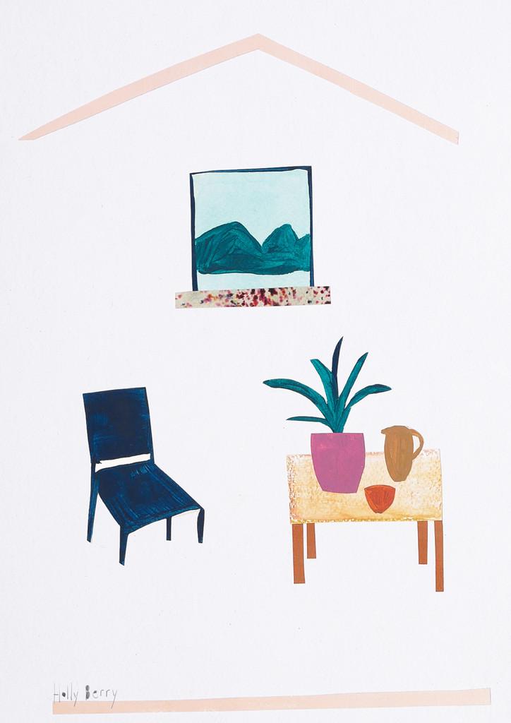 Gouache Mountain Window Scene Unframed Print