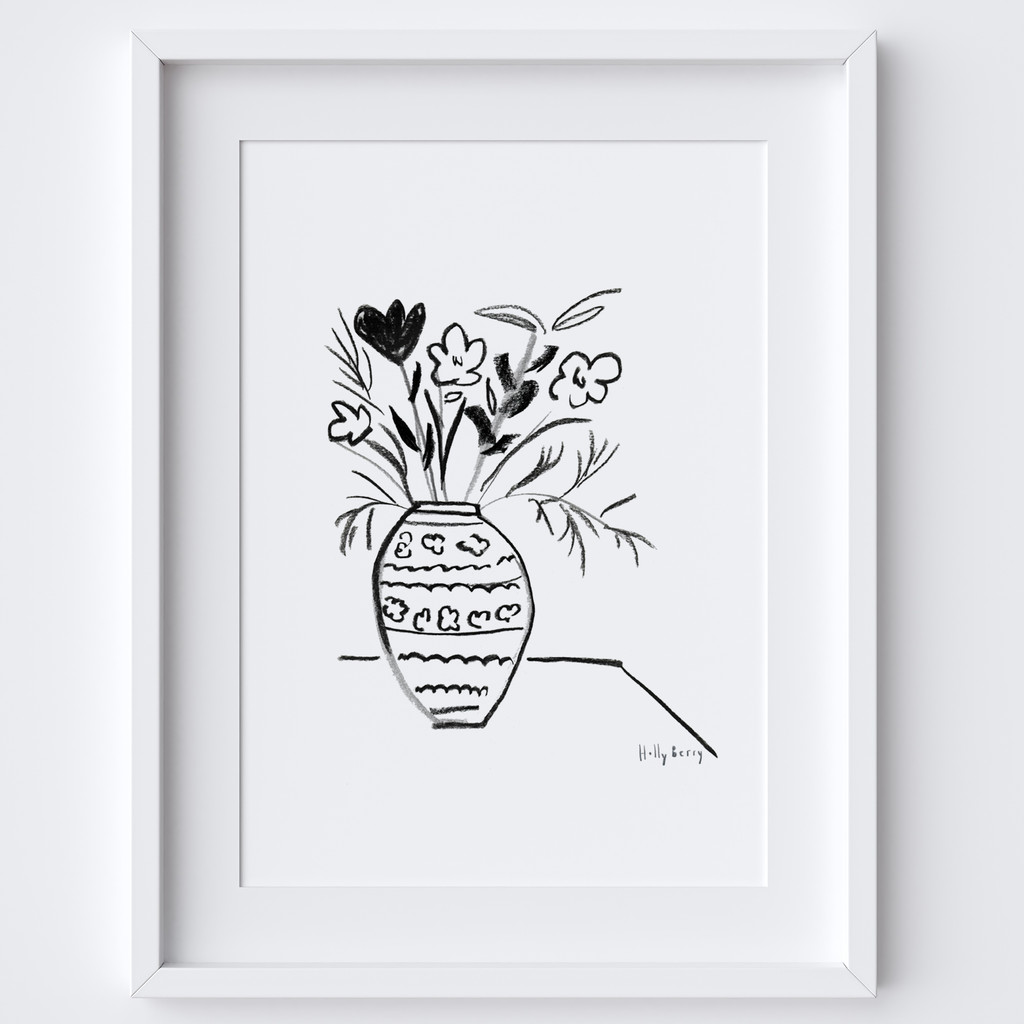 Vase with Flower Drawing Framed Print
