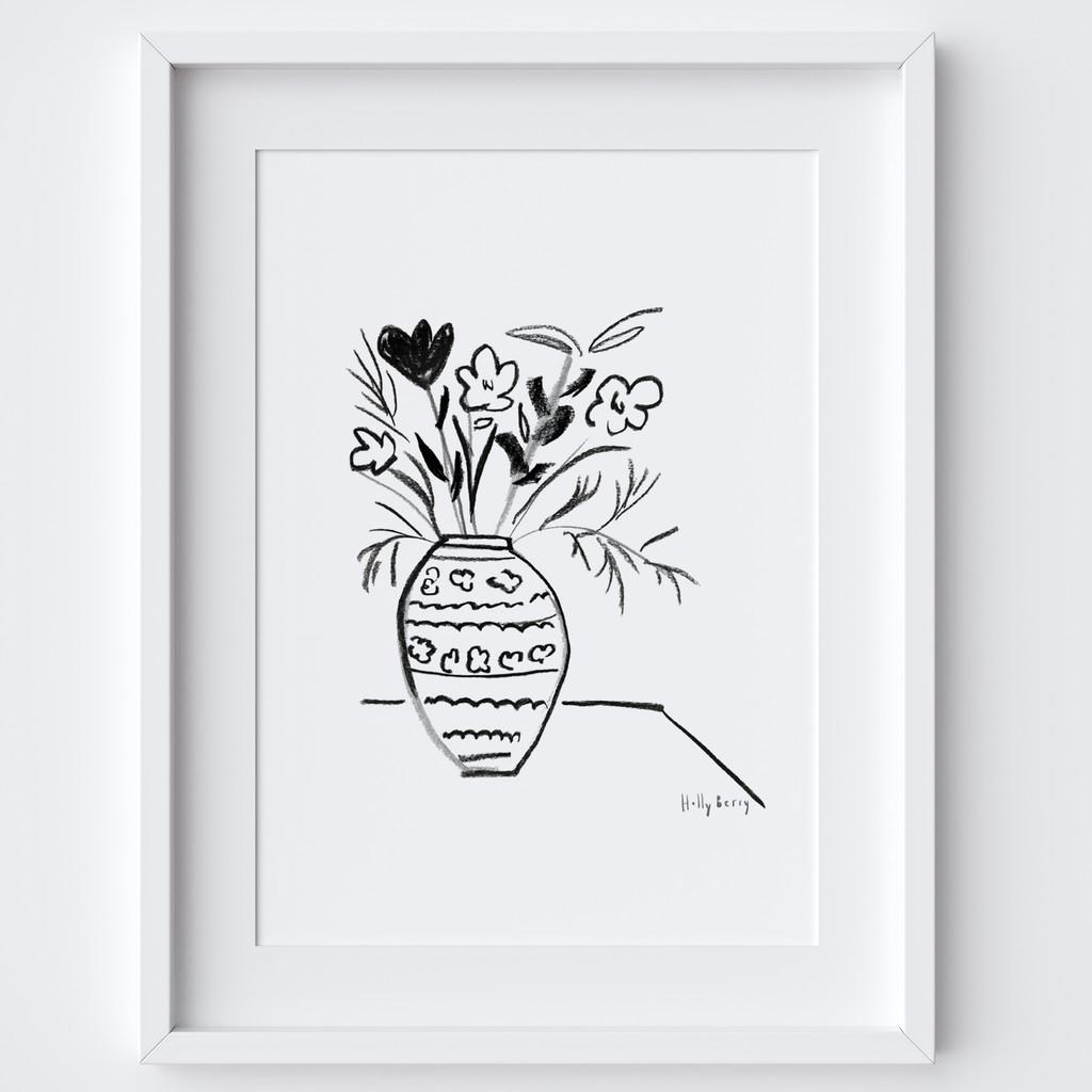 Vase with Flower Drawing Framed Print