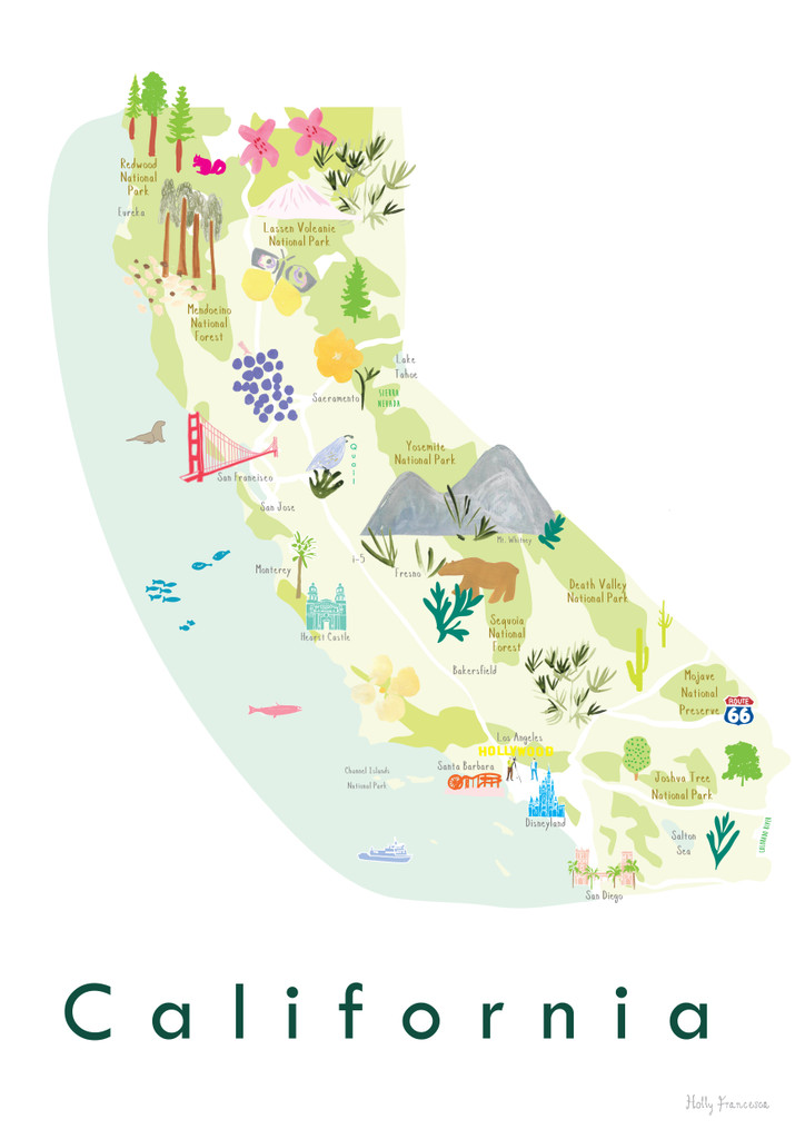 Illustrated painted Map of California, CA, USA unframed print