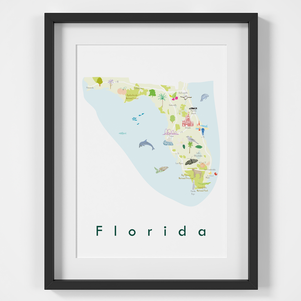Illustrated Florida State Map Art Print Framed. Create with original paintings and drawings.