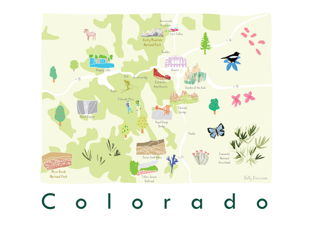 Illustrated Colorado State Map Art Print unframed. Create with original paintings and drawings.
