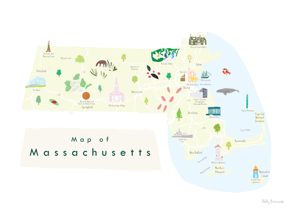Illustrated Massachusetts State Map Art Print unframed. Create with original paintings and drawings.
