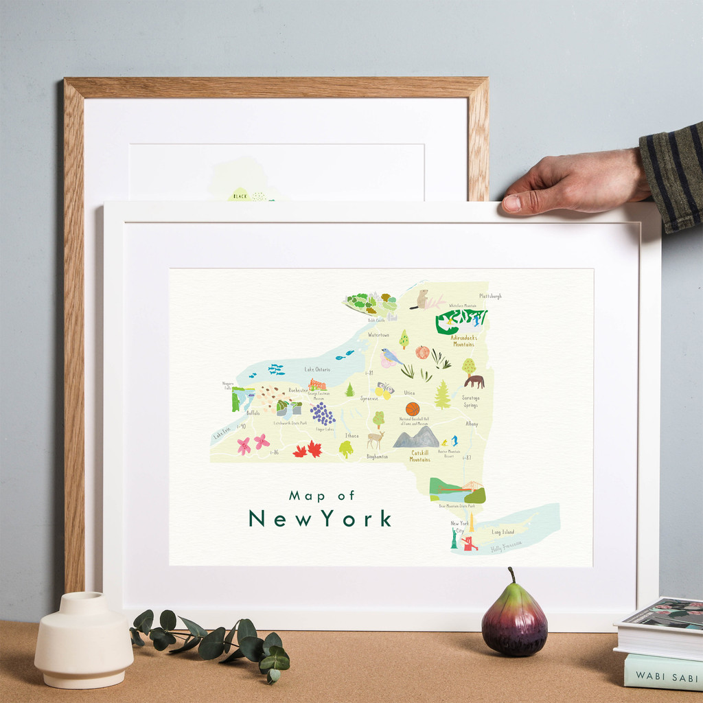 Illustrated New York State Map Art Print framed. Create with original paintings and drawings.