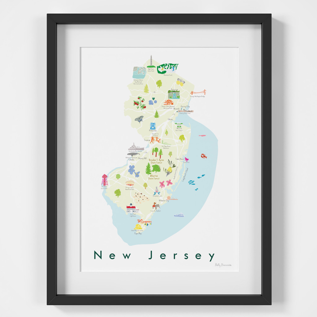 Illustrated New Jersey State Map Art Print framed. Create with original paintings and drawings.