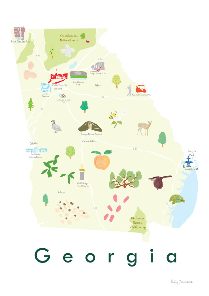 Illustrated Georgia State Map Art Print unframed. Create with original paintings and drawings.