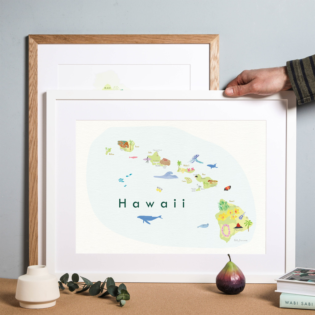 Illustrated Hawaii State Map Art Print framed. Create with original paintings and drawings.