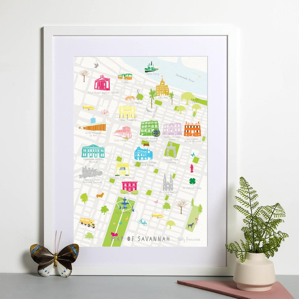 Illustrated hand drawn Map of Savannah in Georgia art print by artist Holly Francesca.