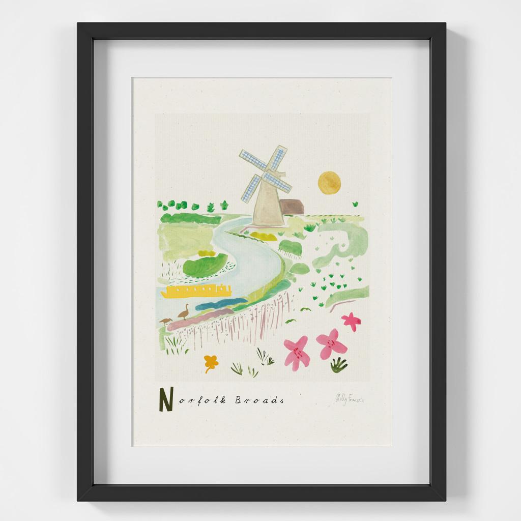 Norfolk Broads Scene Art Print created from an original painting framed