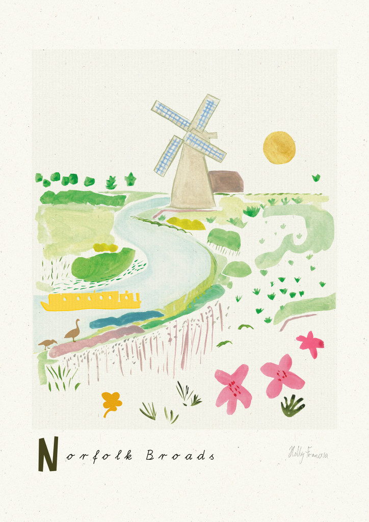 Norfolk Broads Scene Art Print created from an original painting unframed