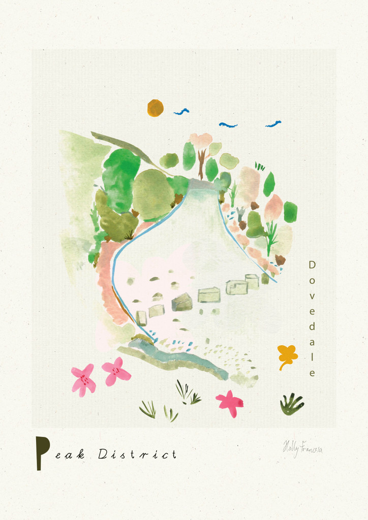 Dovedale Stepping Stones, Peak District Scene Art Print created from an original painting unframed