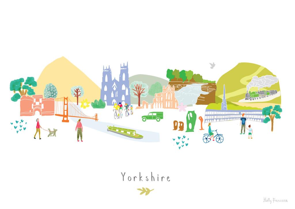Yorkshire County Skyline Landscape Art unframed Print by artist Holly Francesca