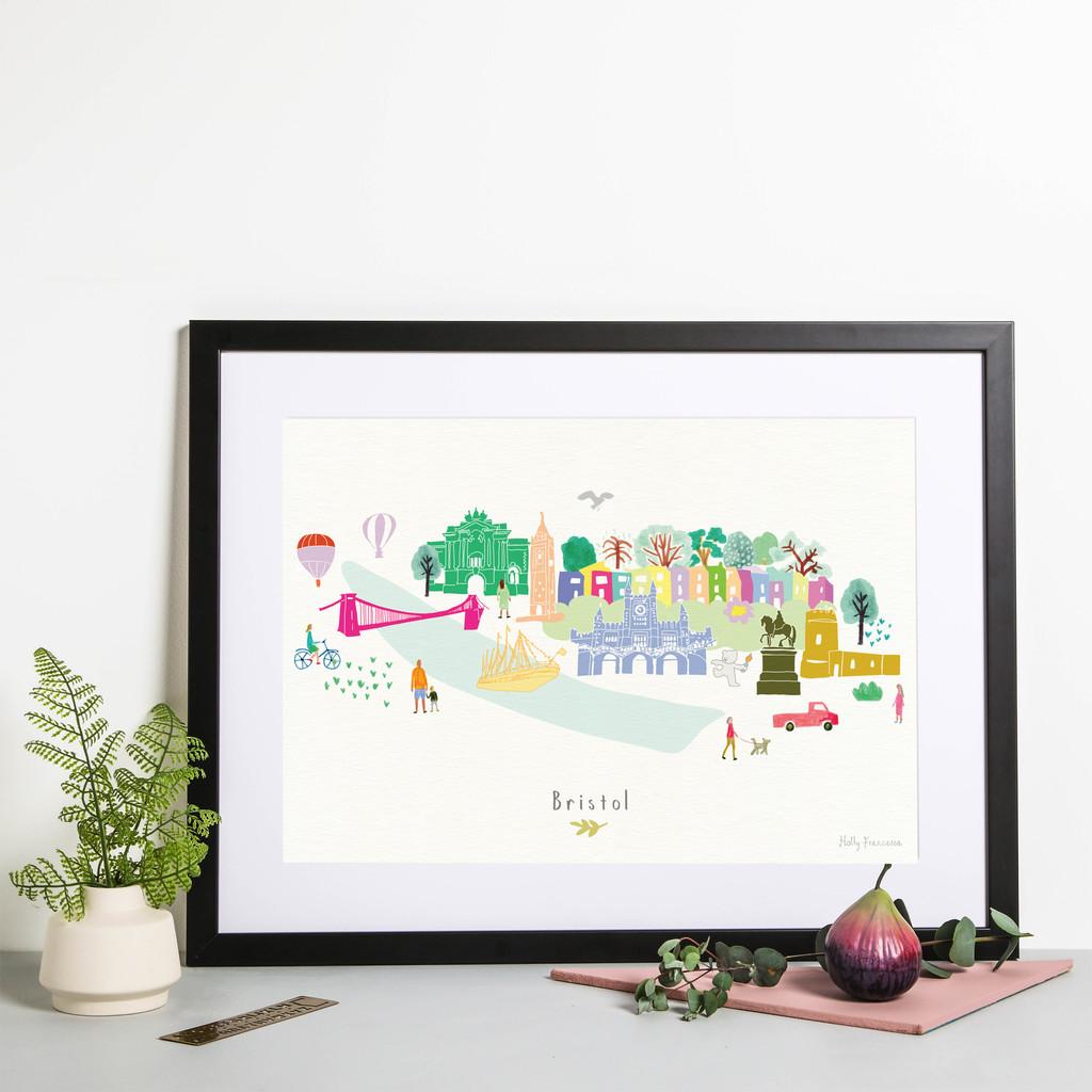 Hand drawn Bristol Skyline Cityscape Art Print by artist Holly Francesca