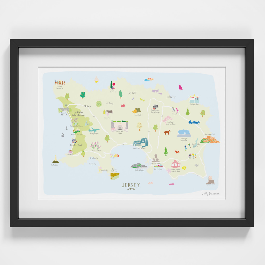 Framed Map of Jersey Art Print, in the Channel Islands. Created by artist, Holly Francesca.
