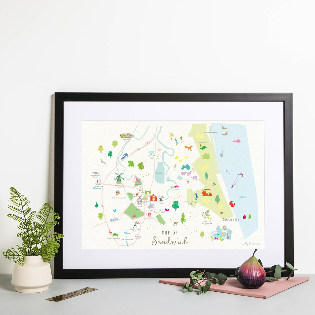 Framed Map of Sandwich in Kent. Created by artist, Holly Francesca.