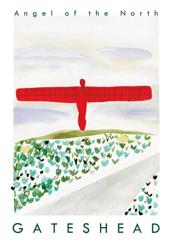 Angel of the North Travel Poster Art Print created from an original painting unframed