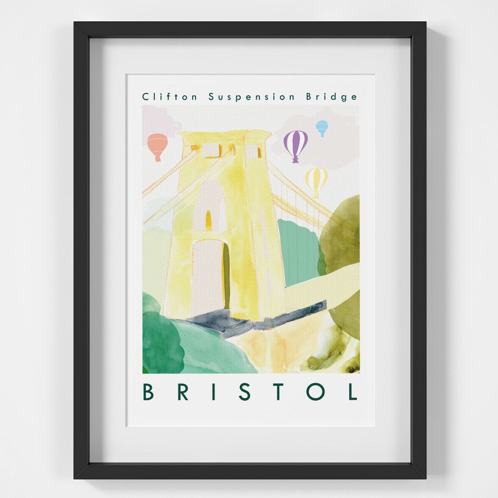 Clifton Suspension Bridge, Bristol Art Print created from an original painting framed