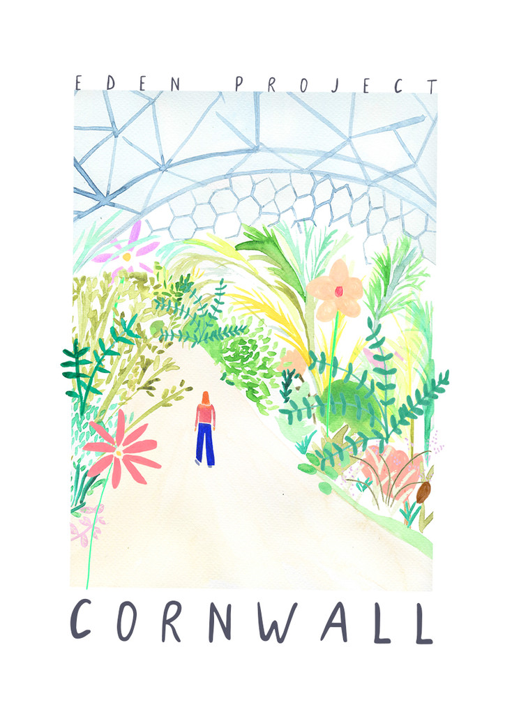 Eden Project, Cornwall Landmark Travel Print created from an original painting unframed