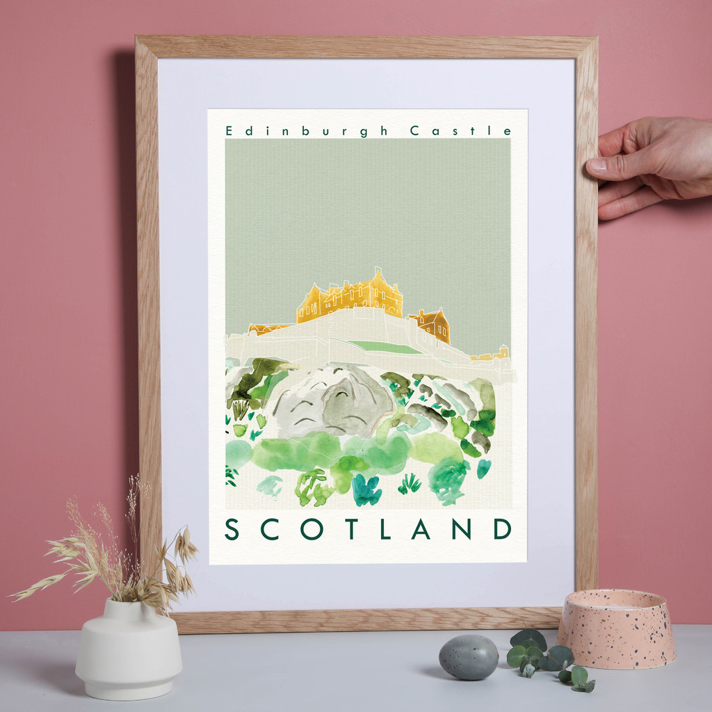 Edinburgh Castle, Scotland Landmark Travel Print created from an original painting framed