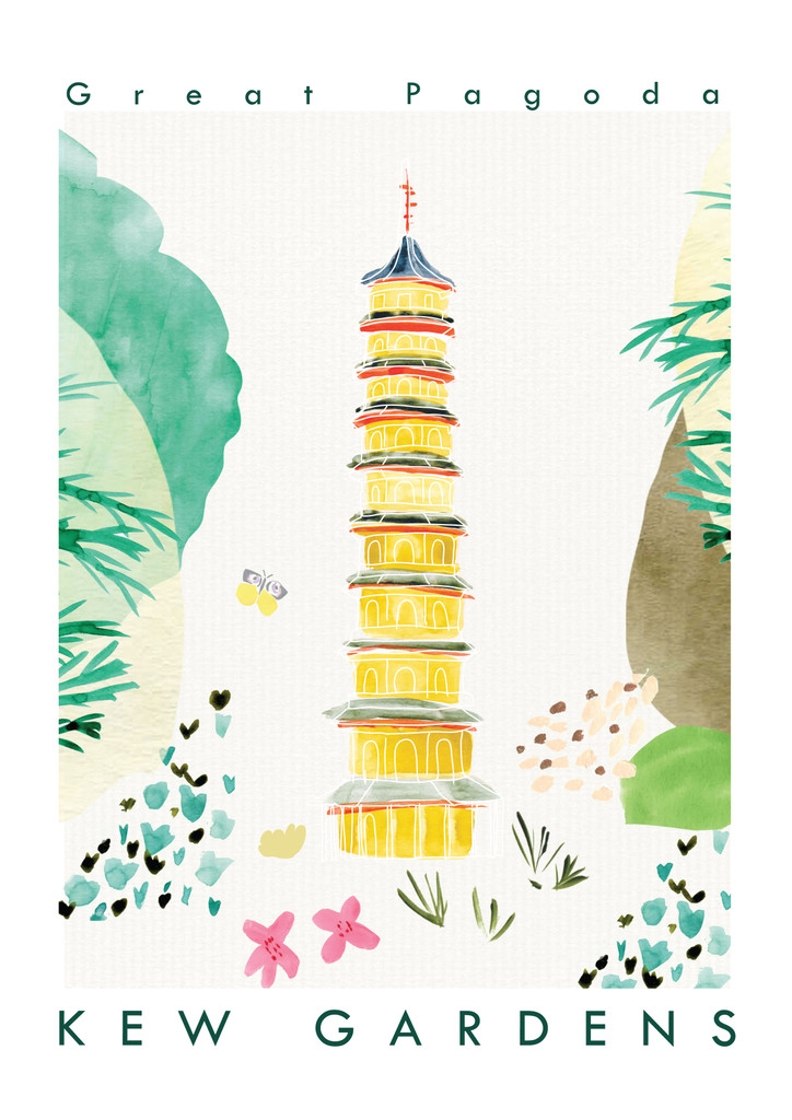 This travel poster of the Great Pagoda, Kew Gardens was created from an original drawing & painting by artist Holly Francesca.