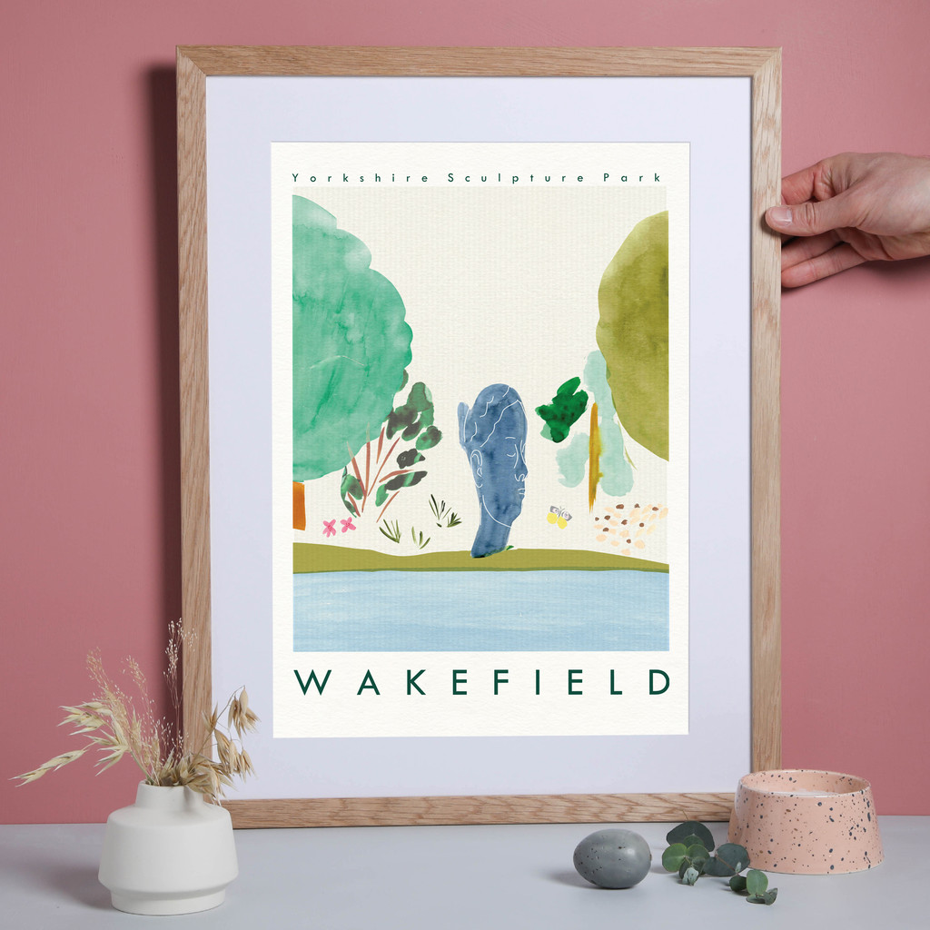 This travel poster of the Yorkshire Sculpture Park, near Wakefield in Yorkshire was created from an original drawing & painting by artist Holly Francesca.
