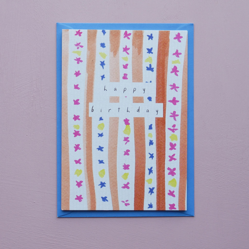 Happy Birthday Heritage Striped Pattern Card