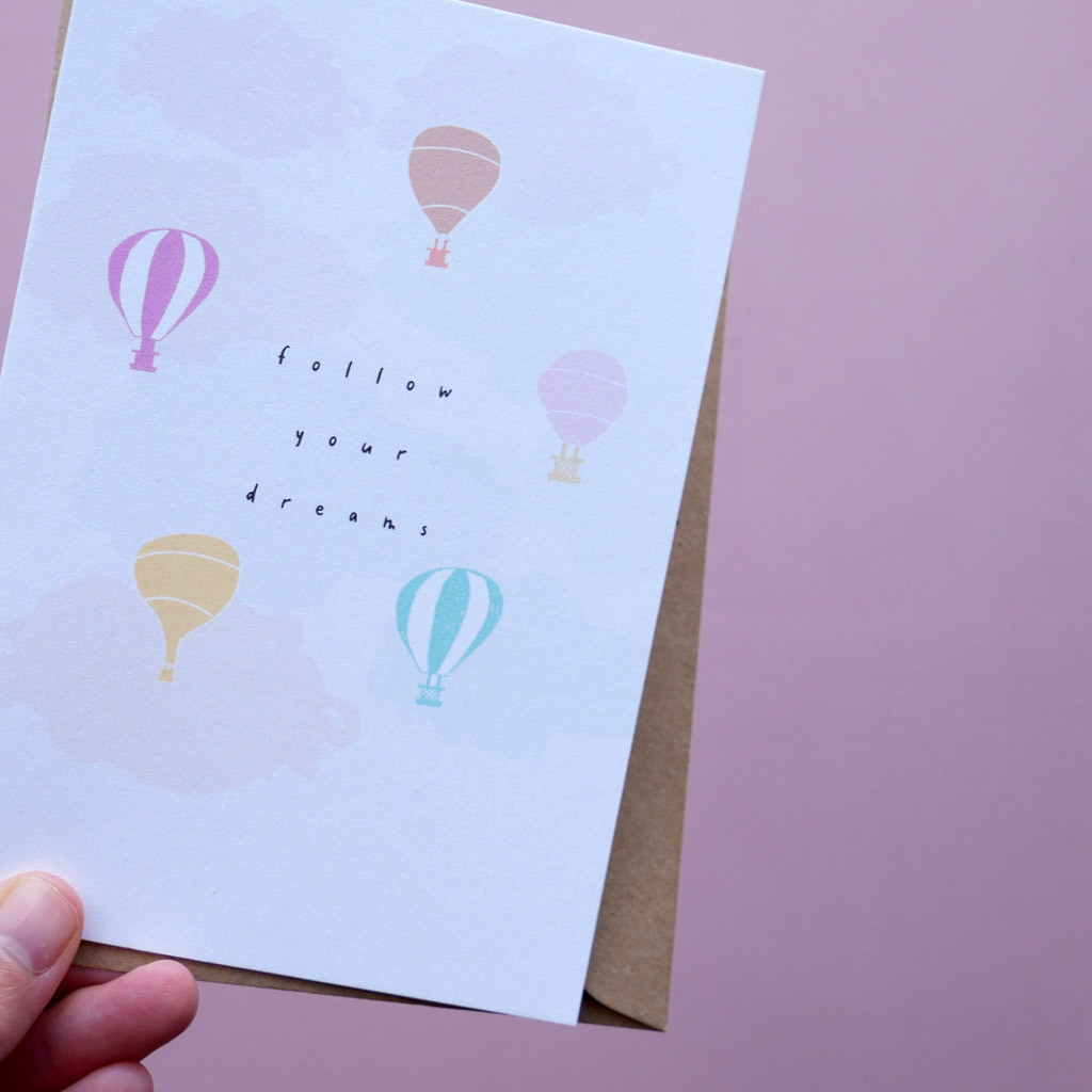 Follow Your Dreams Hot Air Balloon Card