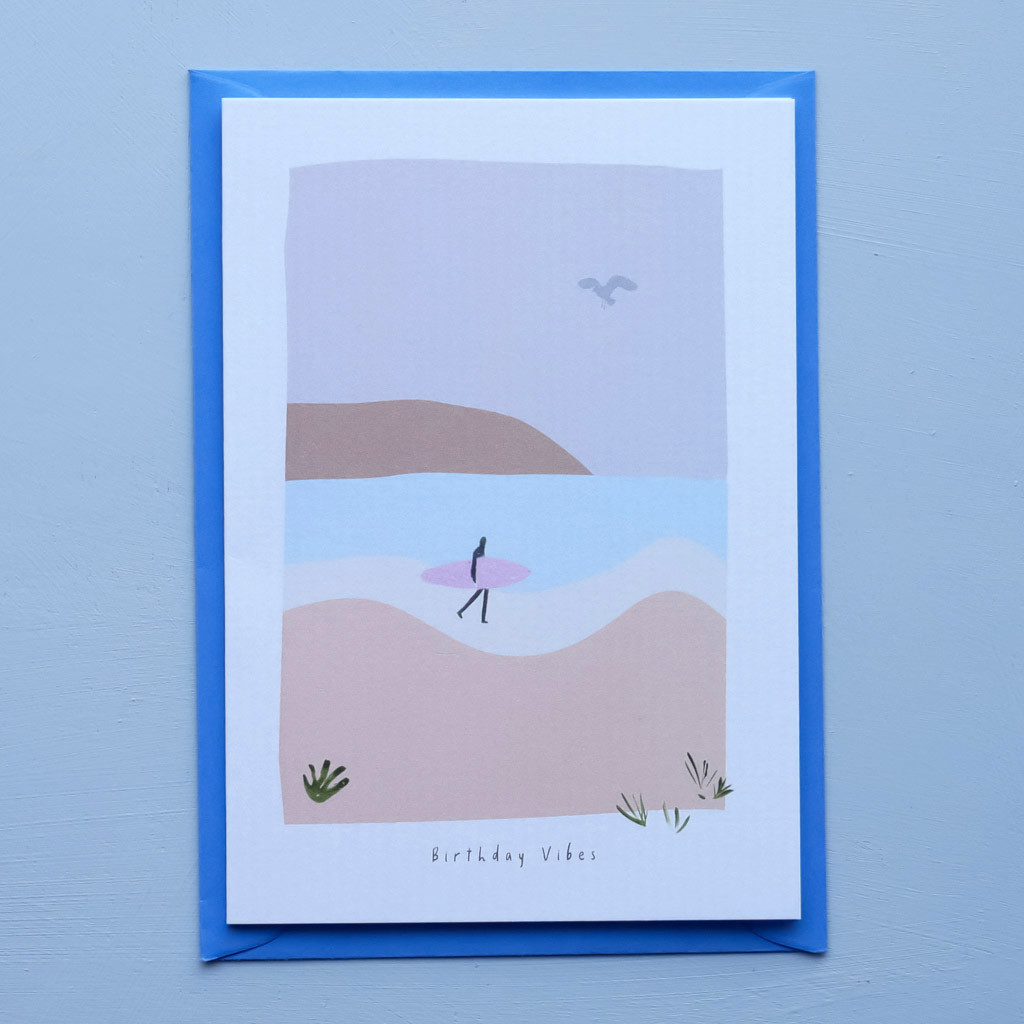 Birthday Vibes Surfing Beach Card