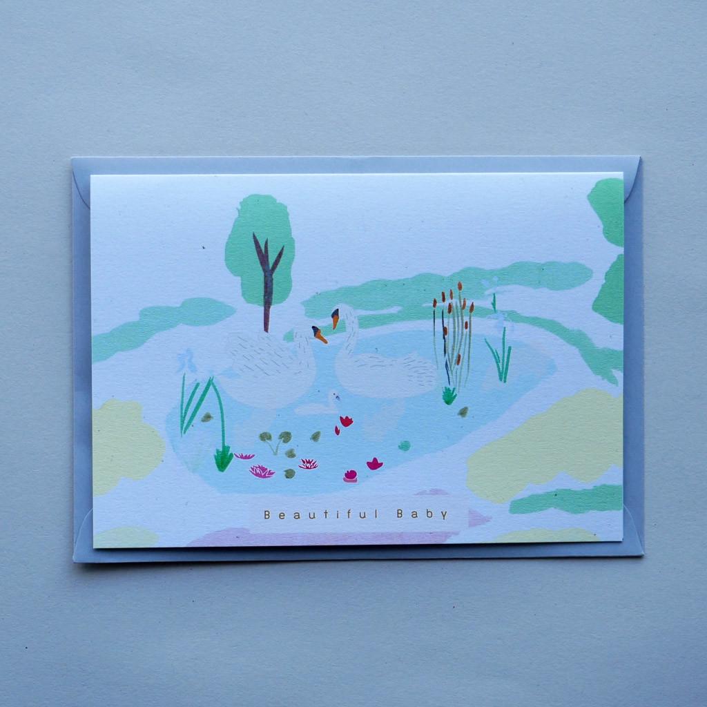 Beautiful Baby New Born Swan Card