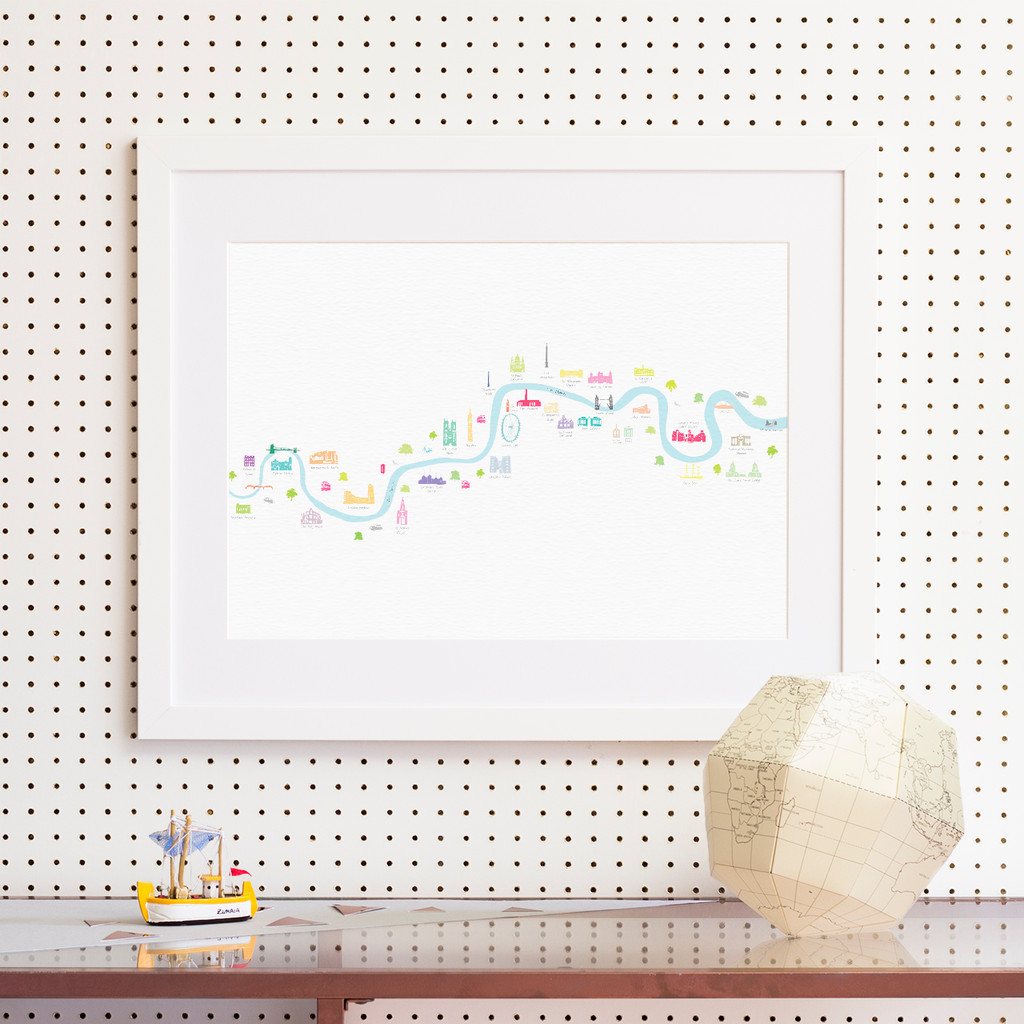 Illustrated hand drawn Map of River Thames Thames Barrier to Barnes Bridge art print by artist Holly Francesca.
