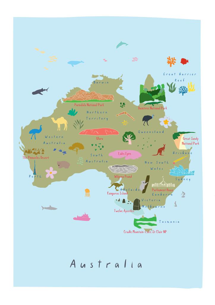 Map of Australia Art Print by artist Holly Francesca