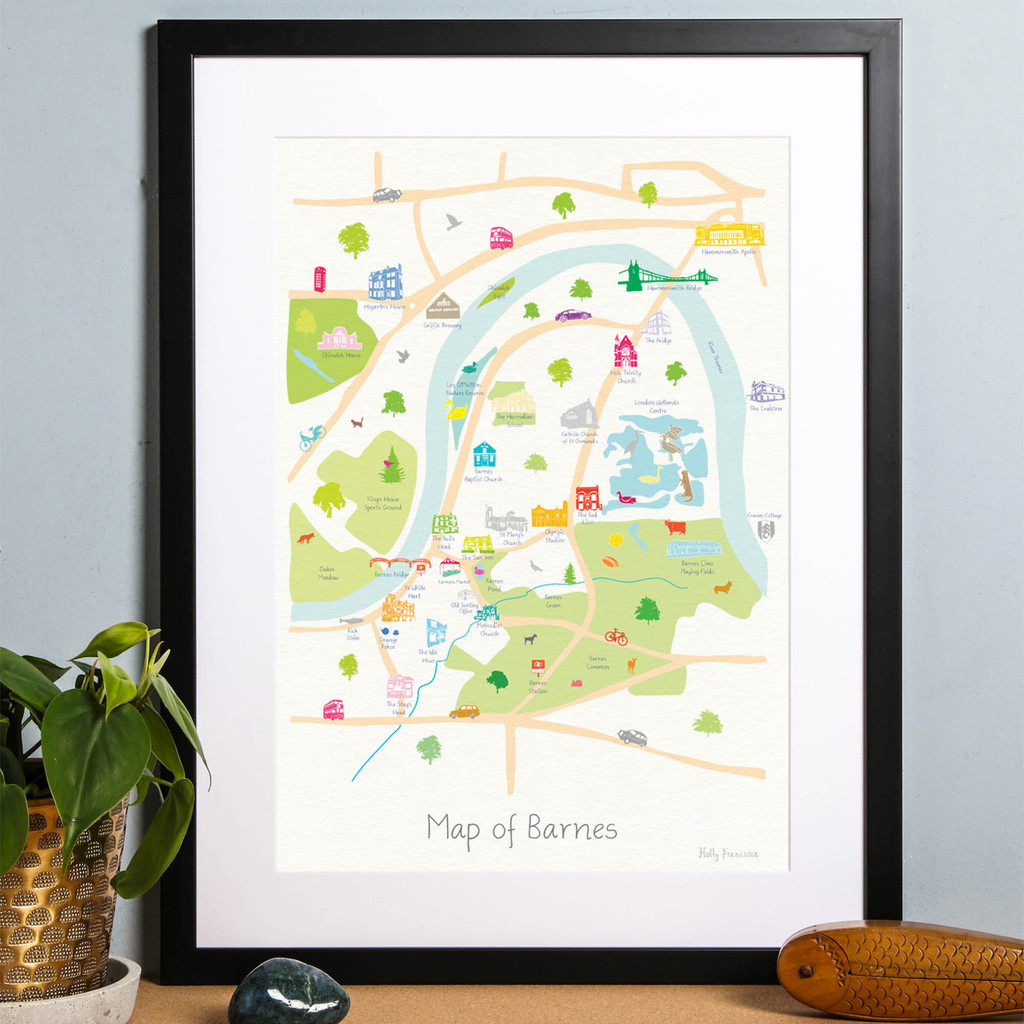Barnes, South West London, London, Map, Iconic,River thames, art print, city, illustration