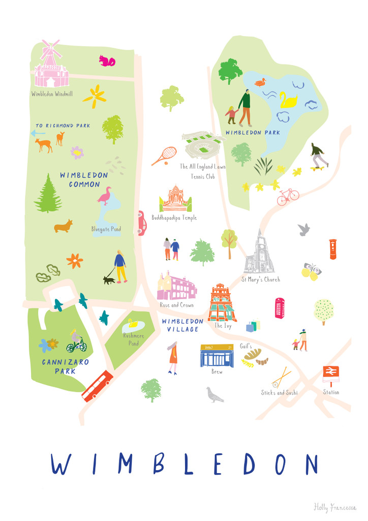 Map of Wimbledon Village Park Common Art Print