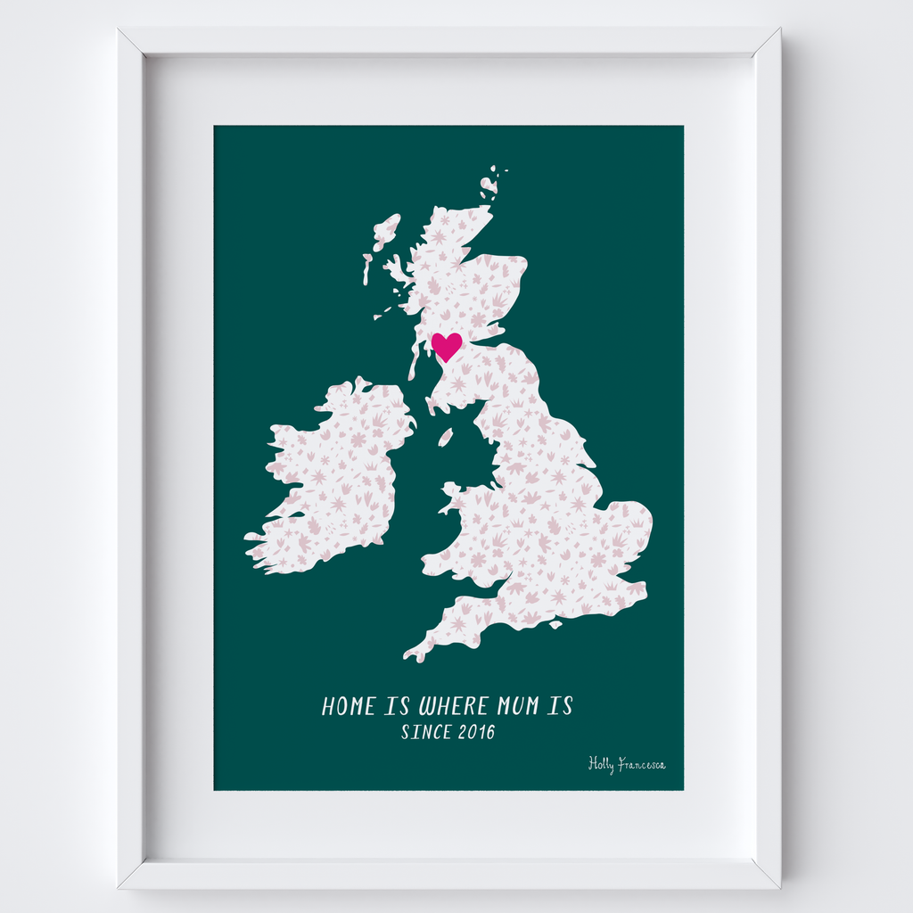 Personalised Couples Love Map Print - Any Country