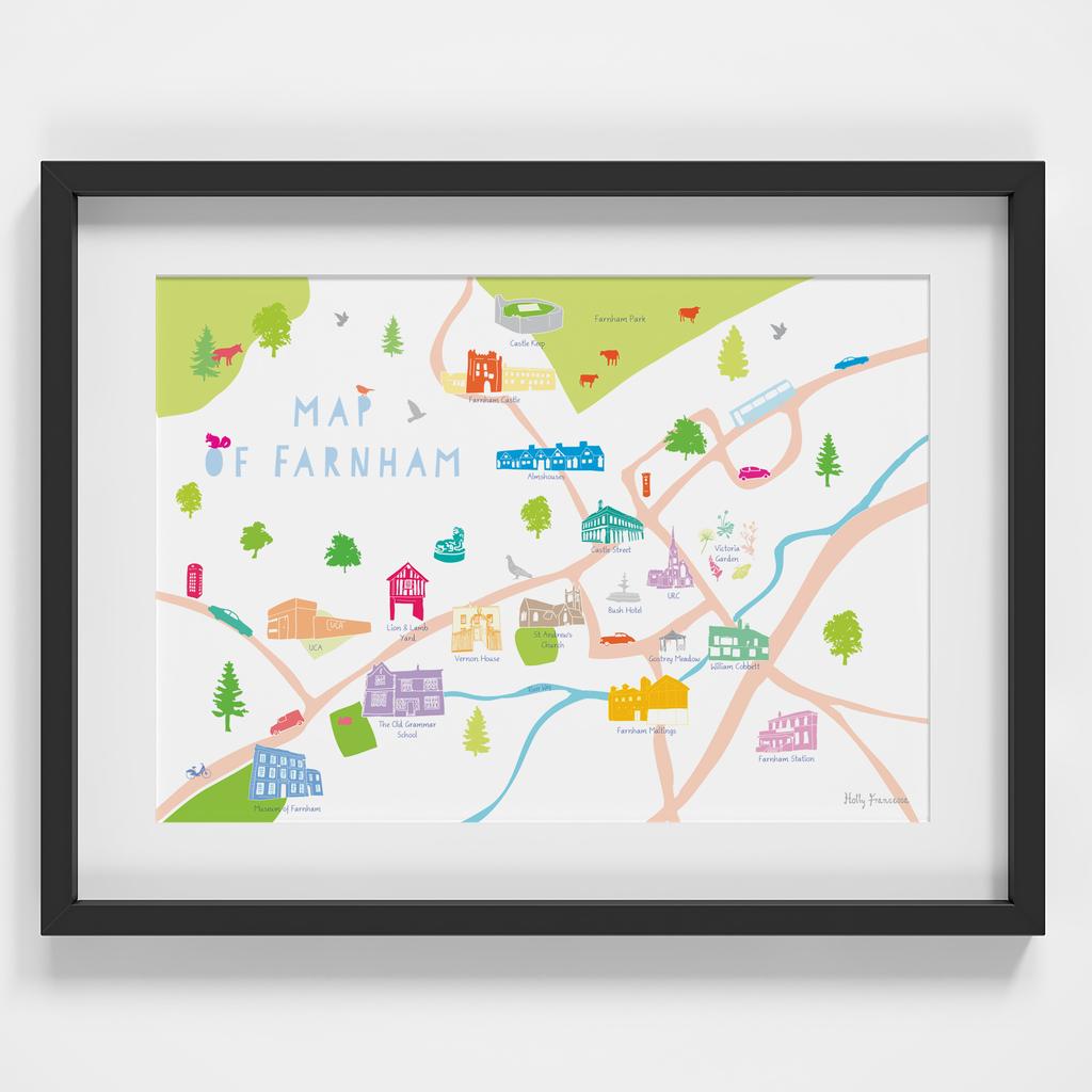 Map of Farnham Art Print illustration framed by artist Holly Francesca