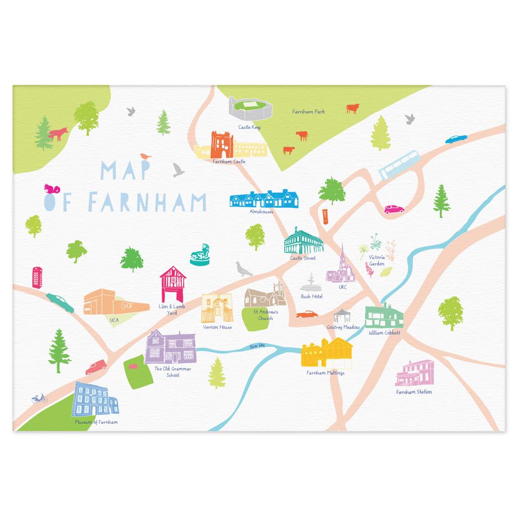 Map of Farnham Art Print illustration unframed by artist Holly Francesca