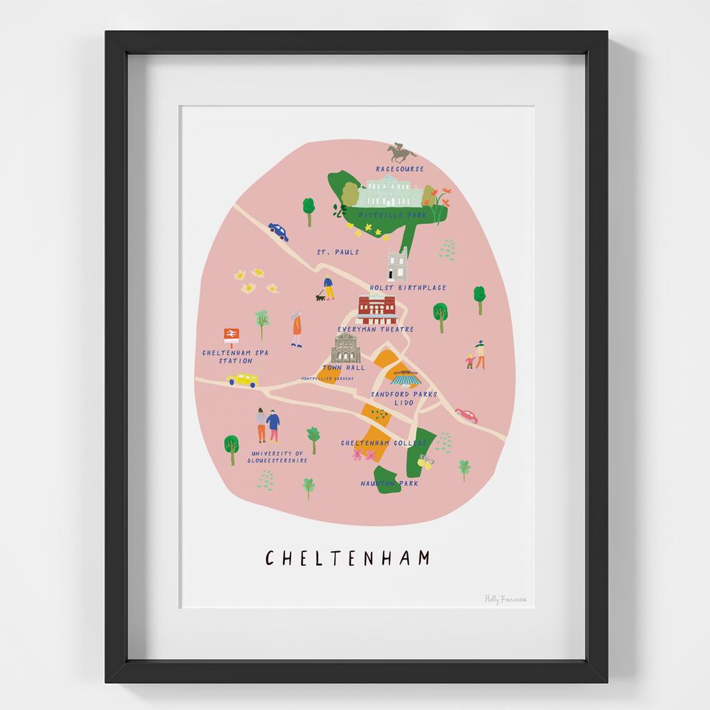 Map of Cheltenham Art Print by Holly Francesca