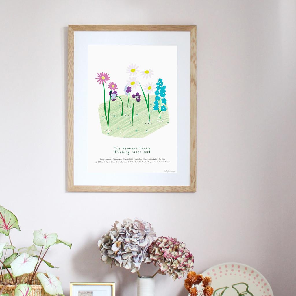 Personalised Family Birth Flower Art Print. Original hand drawn illustrations by artist Holly Francesca