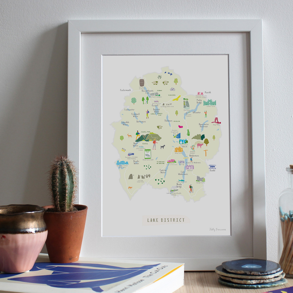 Illustrated hand drawn Map of the Lakes District National Park art print by artist Holly Francesca.
