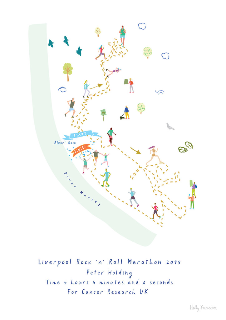 Illustrated personalised art print of the Liverpool Marathon route by artist Holly Francesca