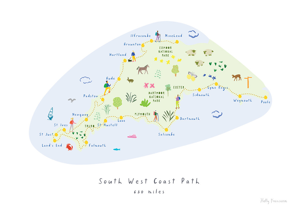 South West Coast Path Route Map Art Print by illustrator Holly Francesca