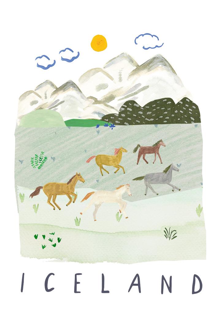 Wild Horses, Iceland Landscape Travel Print
