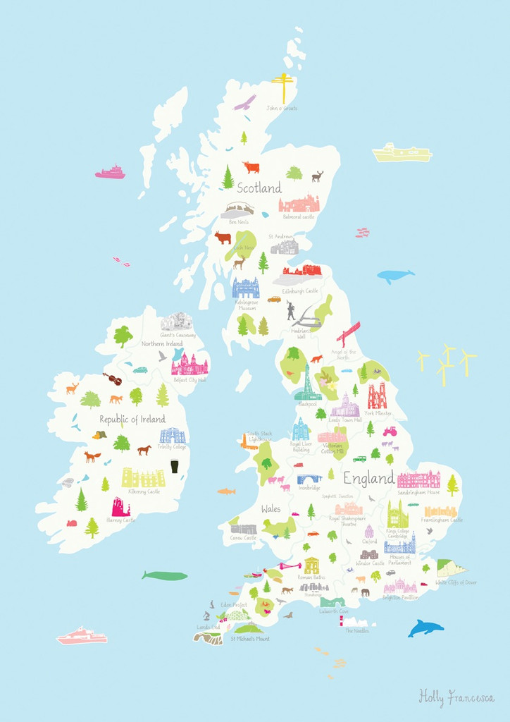 Map of the British Wonders unframed art print by Holly Francesca