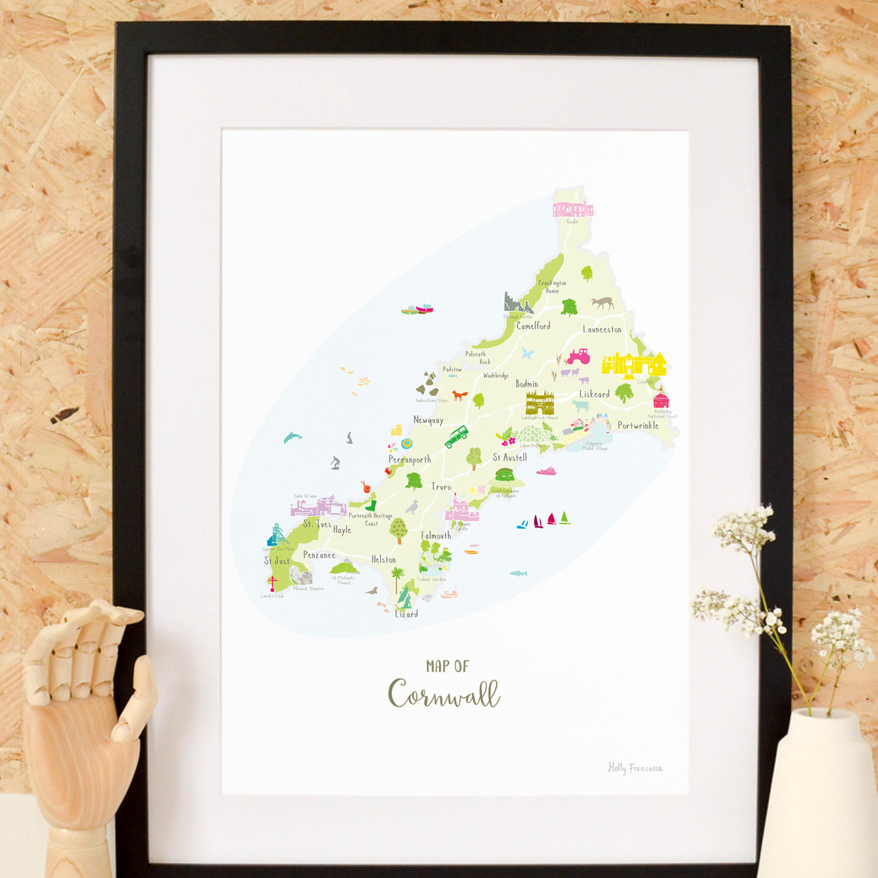 Map Of England Cornwall.Illustrated Hand Drawn Map Of Cornwall Art Print By Artist Holly