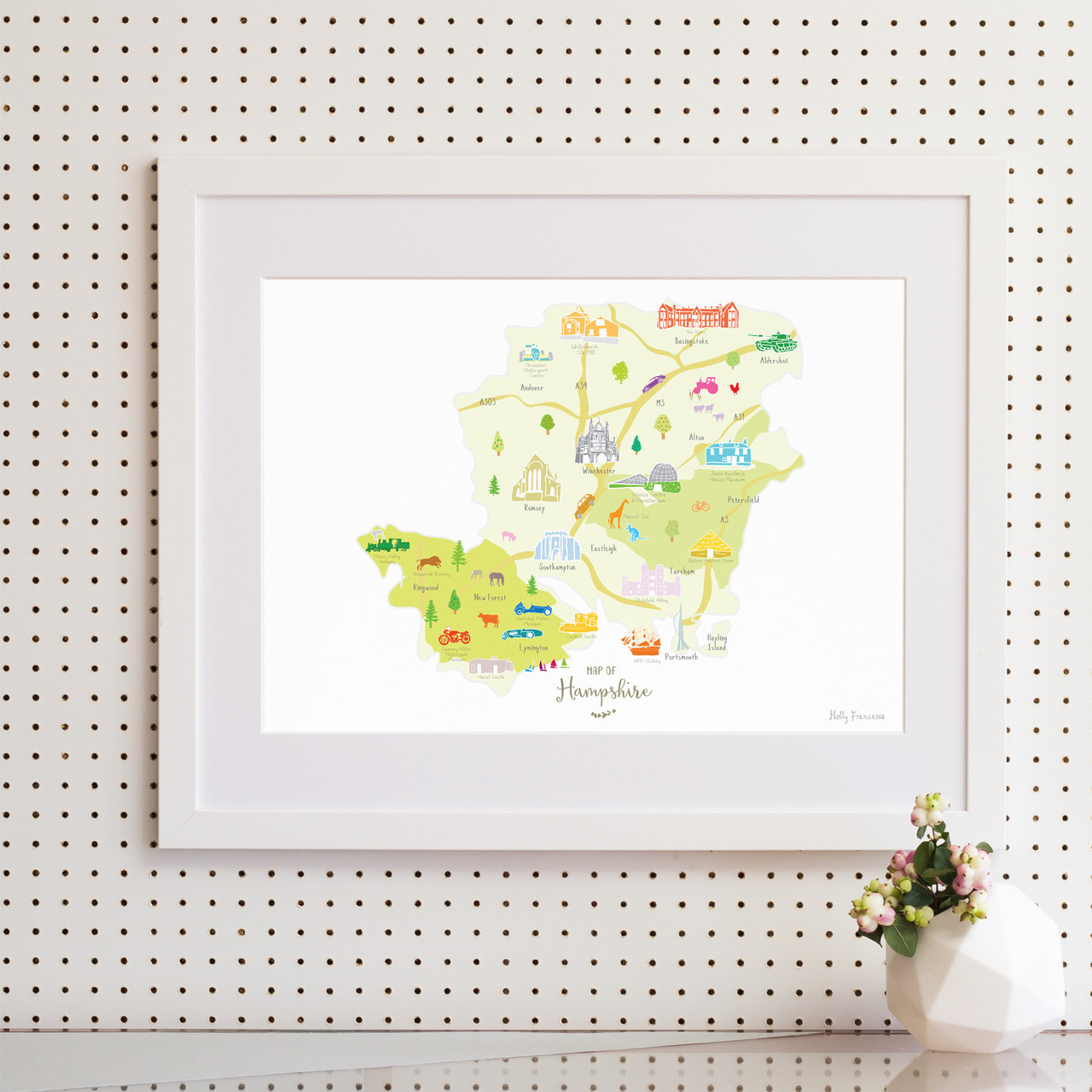 Map Of England 950.Illustrated Hand Drawn Map Of Hampshire By Uk Artist Holly Francesca