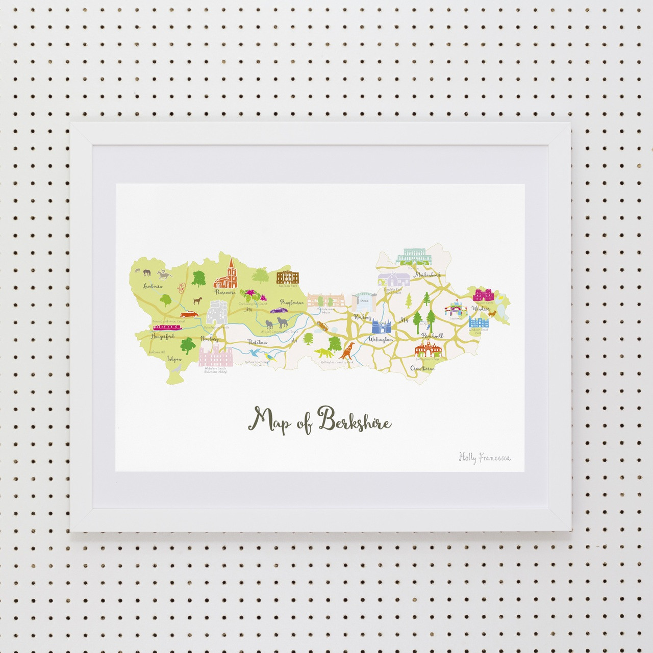 811397ba783 Illustrated hand drawn Map of Berkshire by UK artist Holly Francesca.